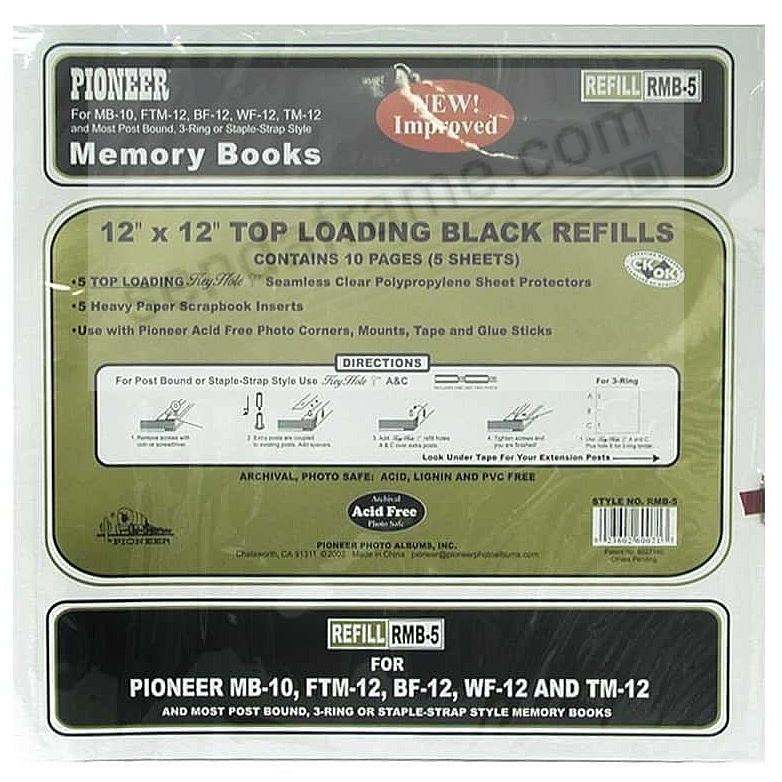Genuine Pioneer® 12x12 Clear Sheet Protectors w/Black page inserts for your scrapbooks