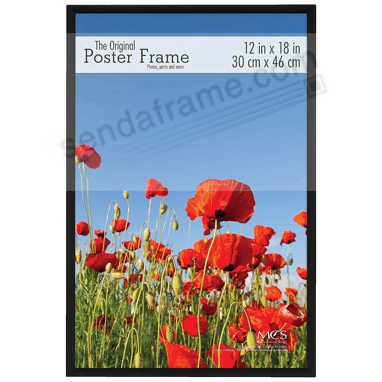 Black plastic POSTER size 12x18 frame with Corrugated Backing