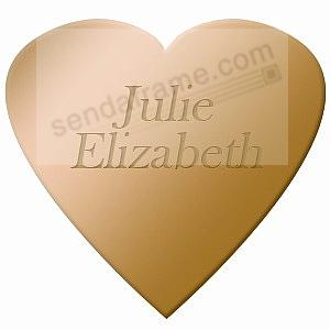 HEART engravable brass 2''x2'' permanent stick name plate