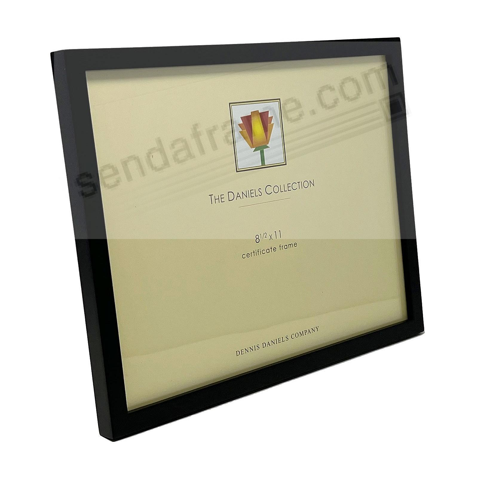 The DANIELS W41: Square Corner GALLERY WOODS Black certificate size frame