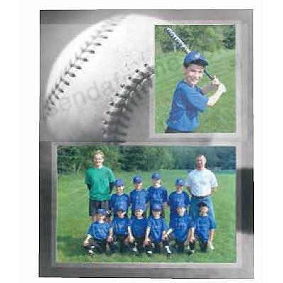 BASEBALL Player+Team 7x5+3½x5 MEMORY MATES cardstock double photo frame (sold in 10's)