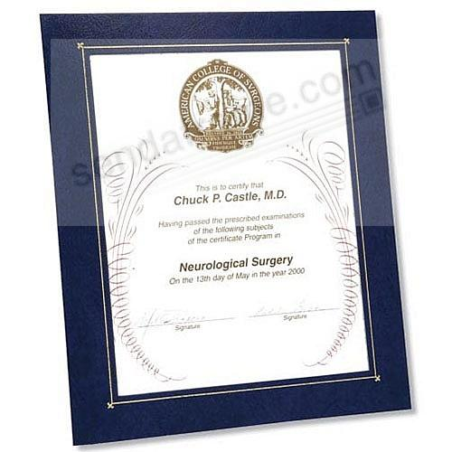 DUAL EASEL Deluxe Blue Mat Frame w/gold foil border and cover (sold in 5's)