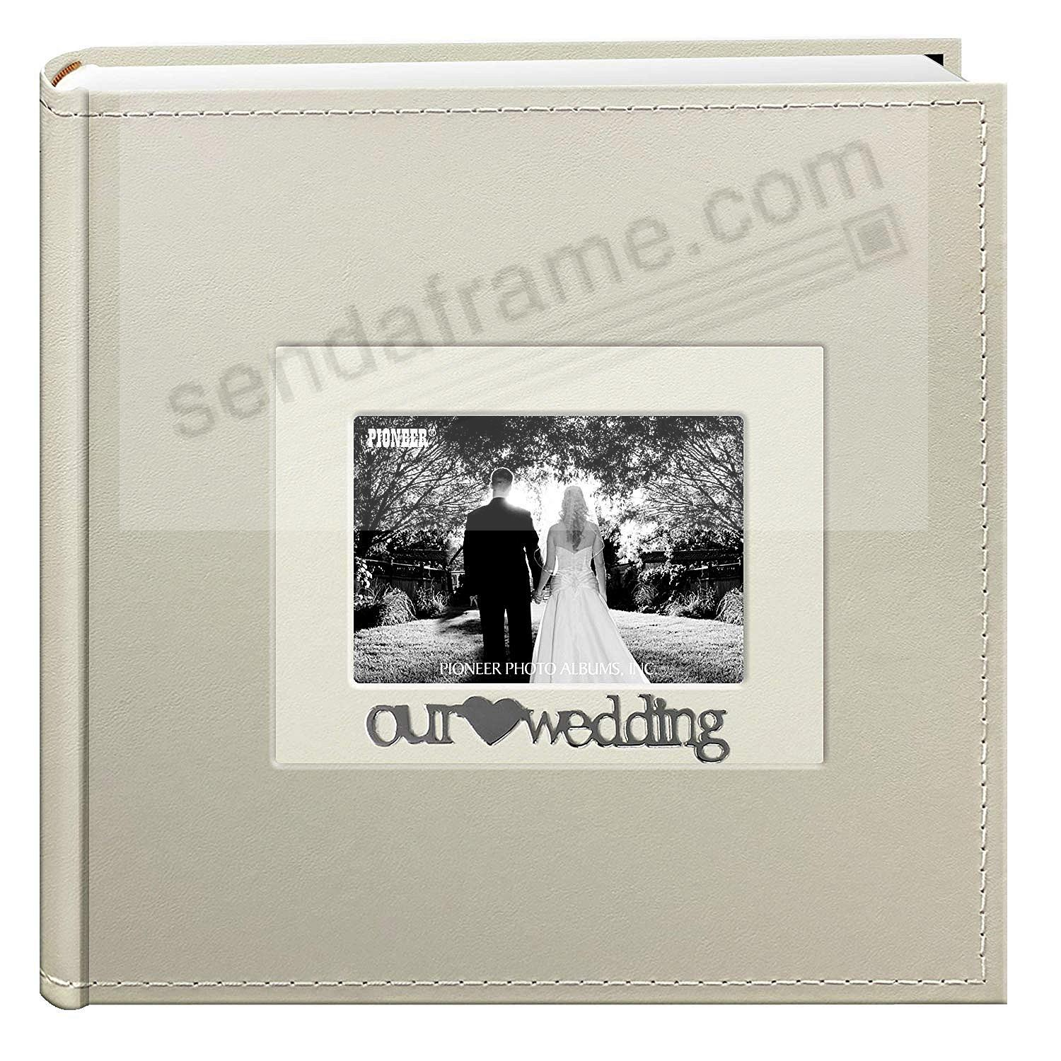 OUR {HEART} WEDDING Applique White album by Pioneer® holds 200 4x6 photos