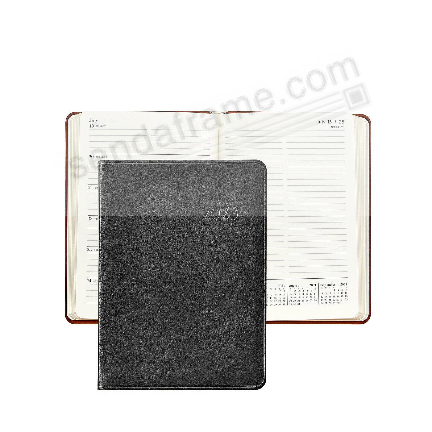 2020 Notebook Planner 7-in Black Traditional Calfskin Leather by Graphic Image™
