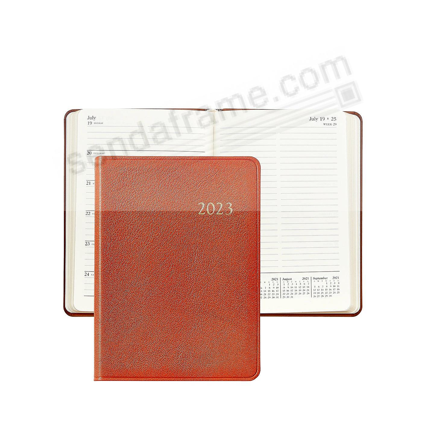 2021 Notebook Planner 7-in Brights-ORANGE Fine Leather by Graphic Image™
