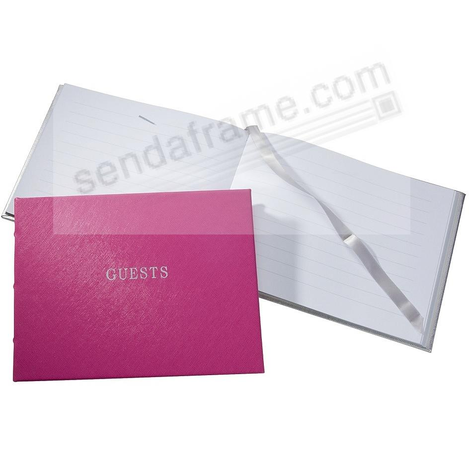 Saffiano-Pink Eco-Leather Guest Book for a lasting record by Graphic Image®