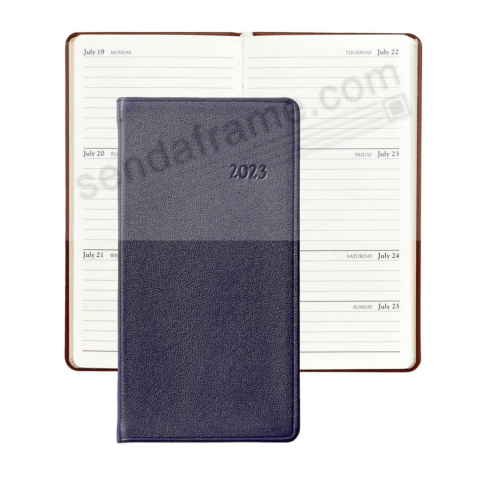 2020 TRADITIONAL-BLUE 6-inch Pocket Datebook Diary in Fine Calfskin Leather by Graphic Image™