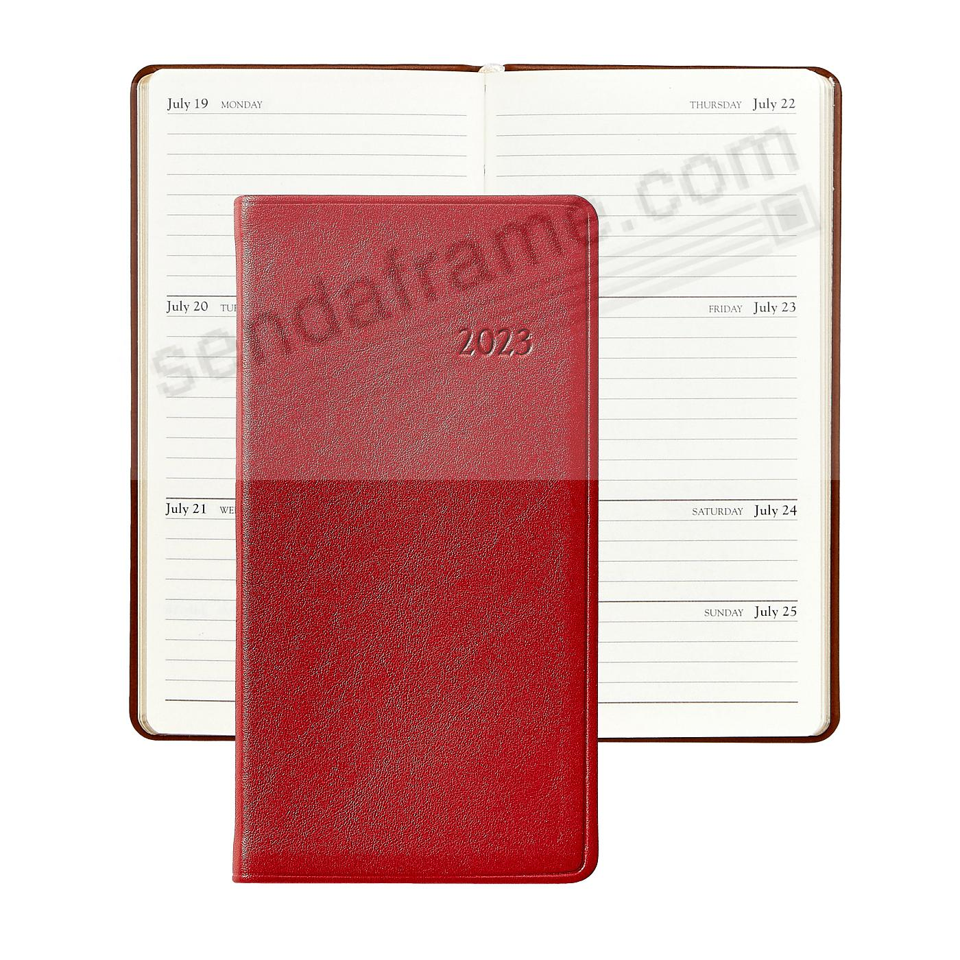 2020 TRADITIONAL-RED 6-inch Pocket Datebook Diary in Fine Calfskin Leather by Graphic Image™