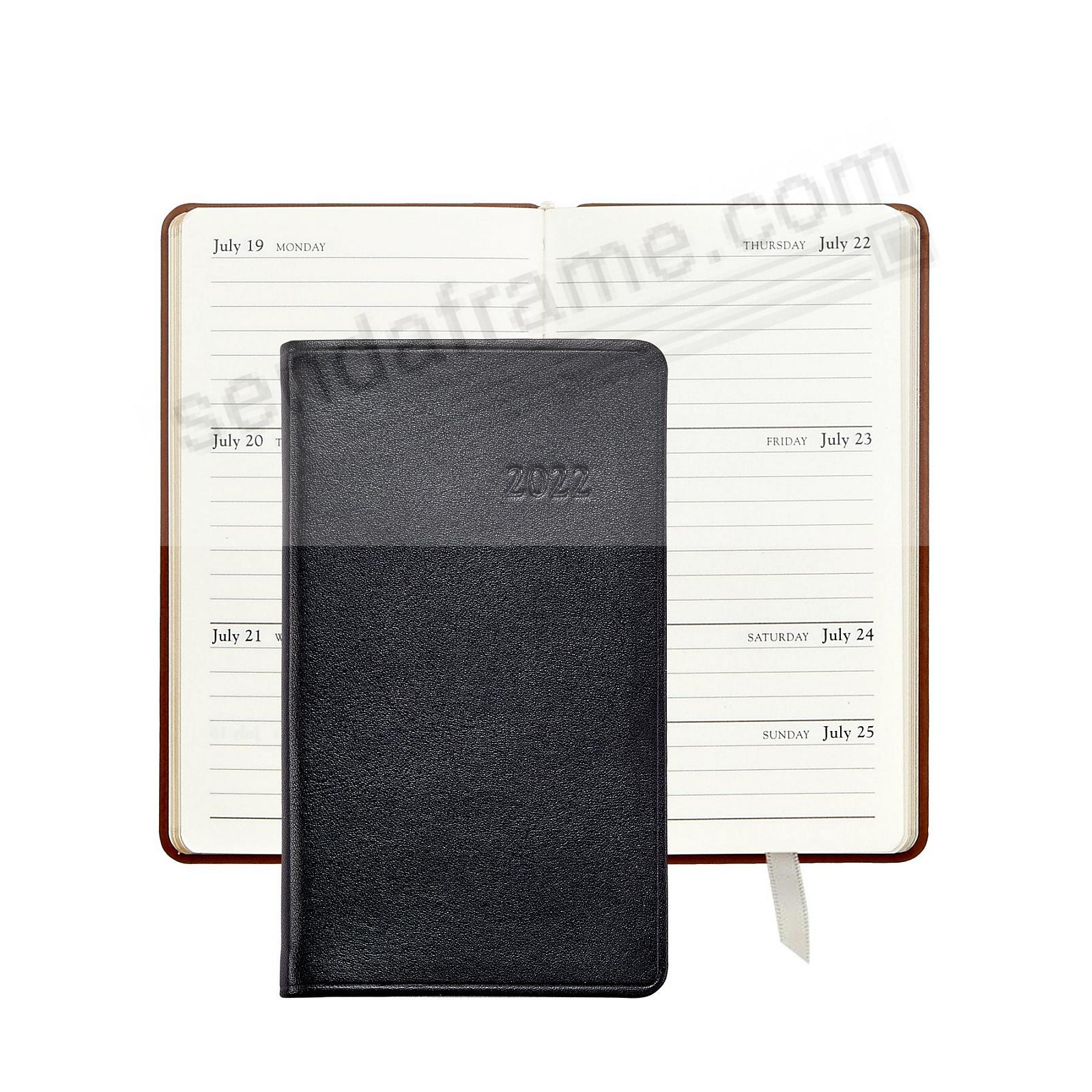 2021 BLACK 5in Pocket TRADITIONAL Fine Leather Datebook by Graphic Image™