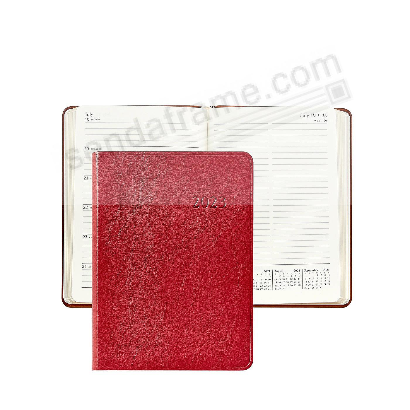 2020 Notebook Planner 7-in RED Traditional Calfskin Leather by Graphic Image™