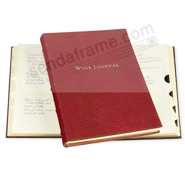 Luxe Tabbed Wine Journal in traditional Garnet Calfskin Leather by Graphic Image™