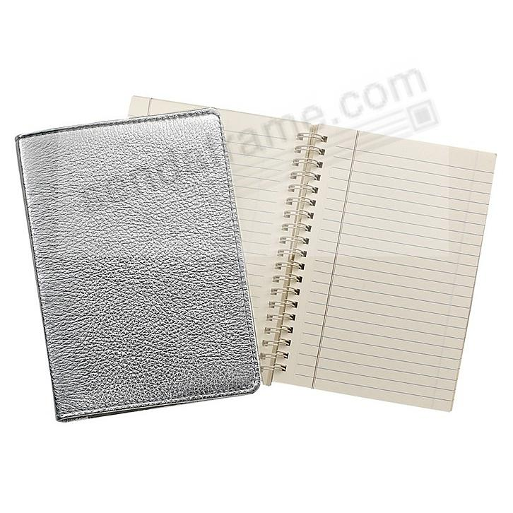 Wire-O-Notebook 7in SILVER Fine Leather by Graphic Image™