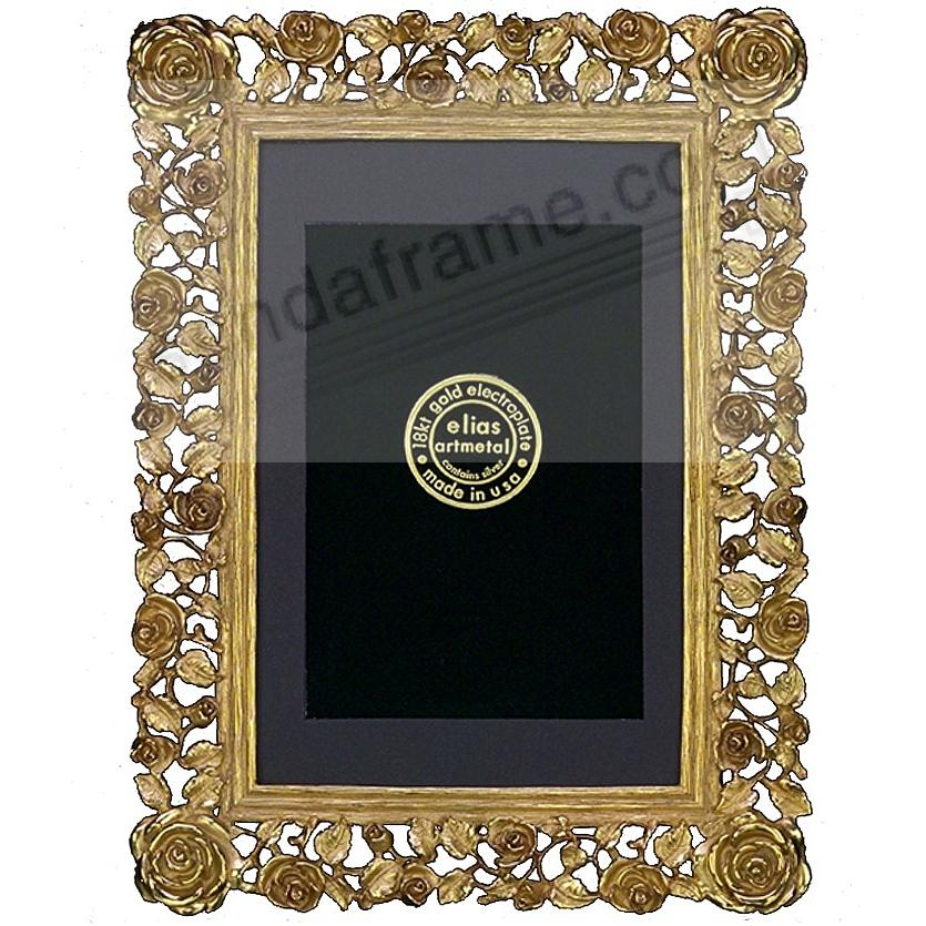 TRELLIS ROSE 18kt Museum Gold over fine pewter 4x6/3½x5 by Elias Artmetal®