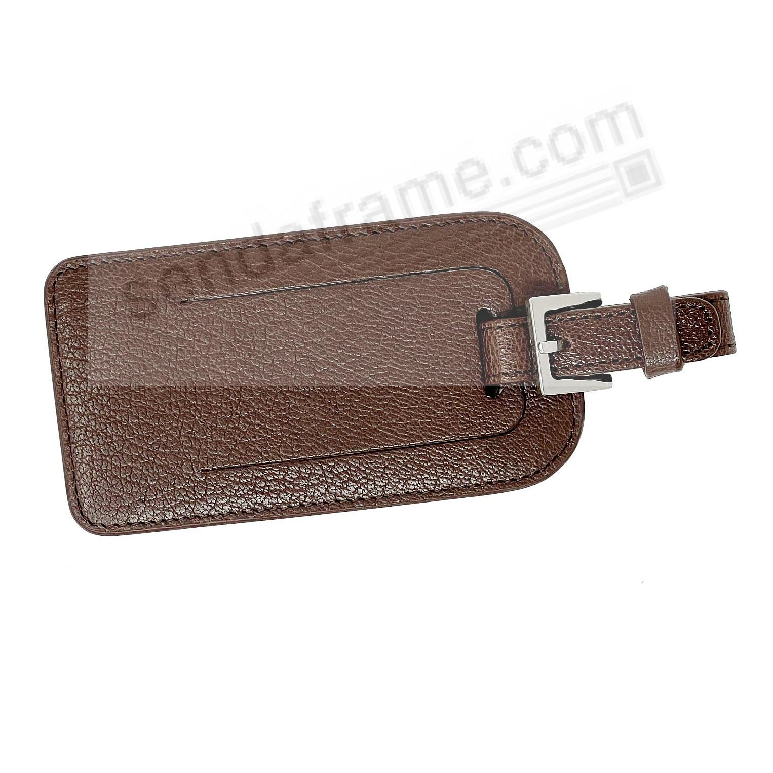LUGGAGE TAG in BRIGHTS MOCHA Goatskin Leather by Graphic Image®