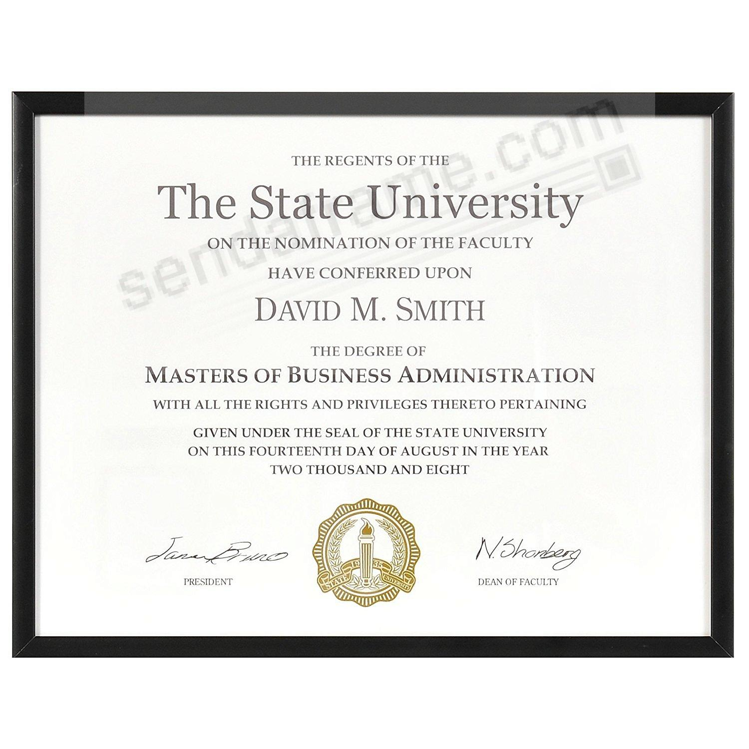 STUDIO BLACK metallic certificate frame for 11x8½ prints by ARTCARE®