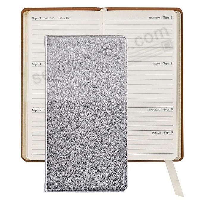 2019 METALLIC SILVER 6-in Pocket Datebook in Fine Leather by Graphic Image™