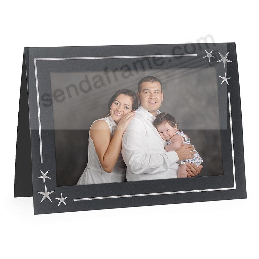 Embossed STARS<br>premium photo insert Holiday Card (sold in 10s)