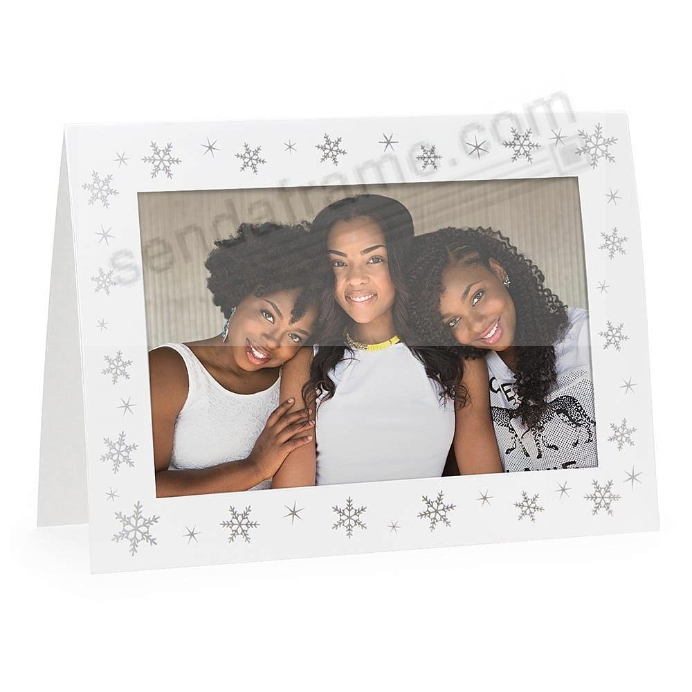 Embossed SNOWFLAKES<br>premium photo insert Holiday Card (sold in 10s)