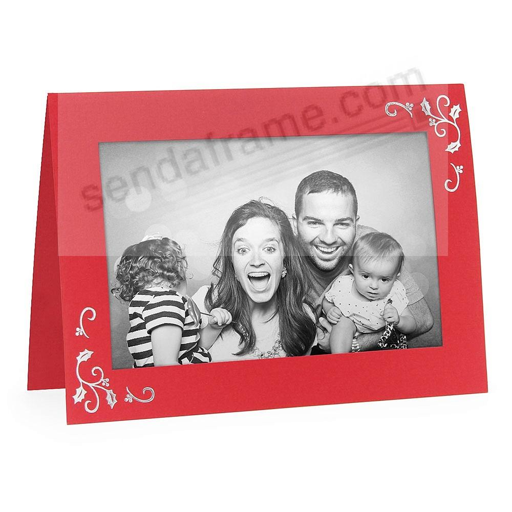 Embossed HOLLY CORNERS Premium Photo insert Holiday Card (sold in 10s)