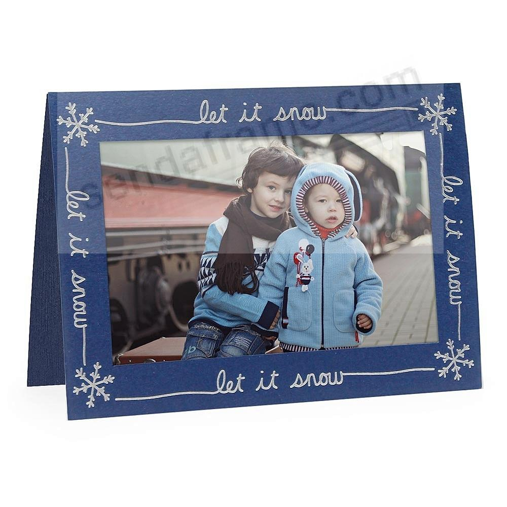 Embossed LET IT SNOW<br>premium photo insert Holiday Card (sold in 10s)