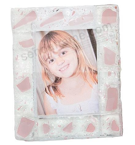 Wallet-size frosted Pink MURANO COLLECTION glass frame - Picture ...