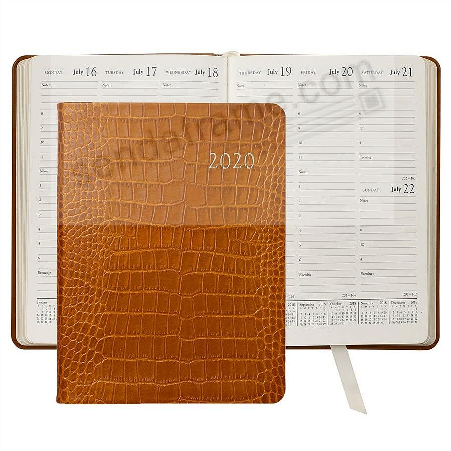 2020 Desk Diary 9'' GOLDENROD Crocodile Embossed Leather by Graphic Image™