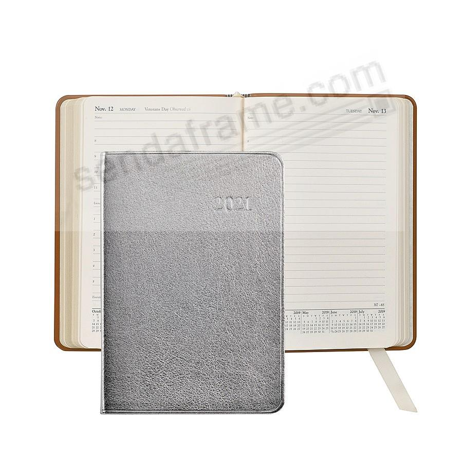 2020 Metallic Silver Fine Leather 8-in Daily Journal by Graphic Image™