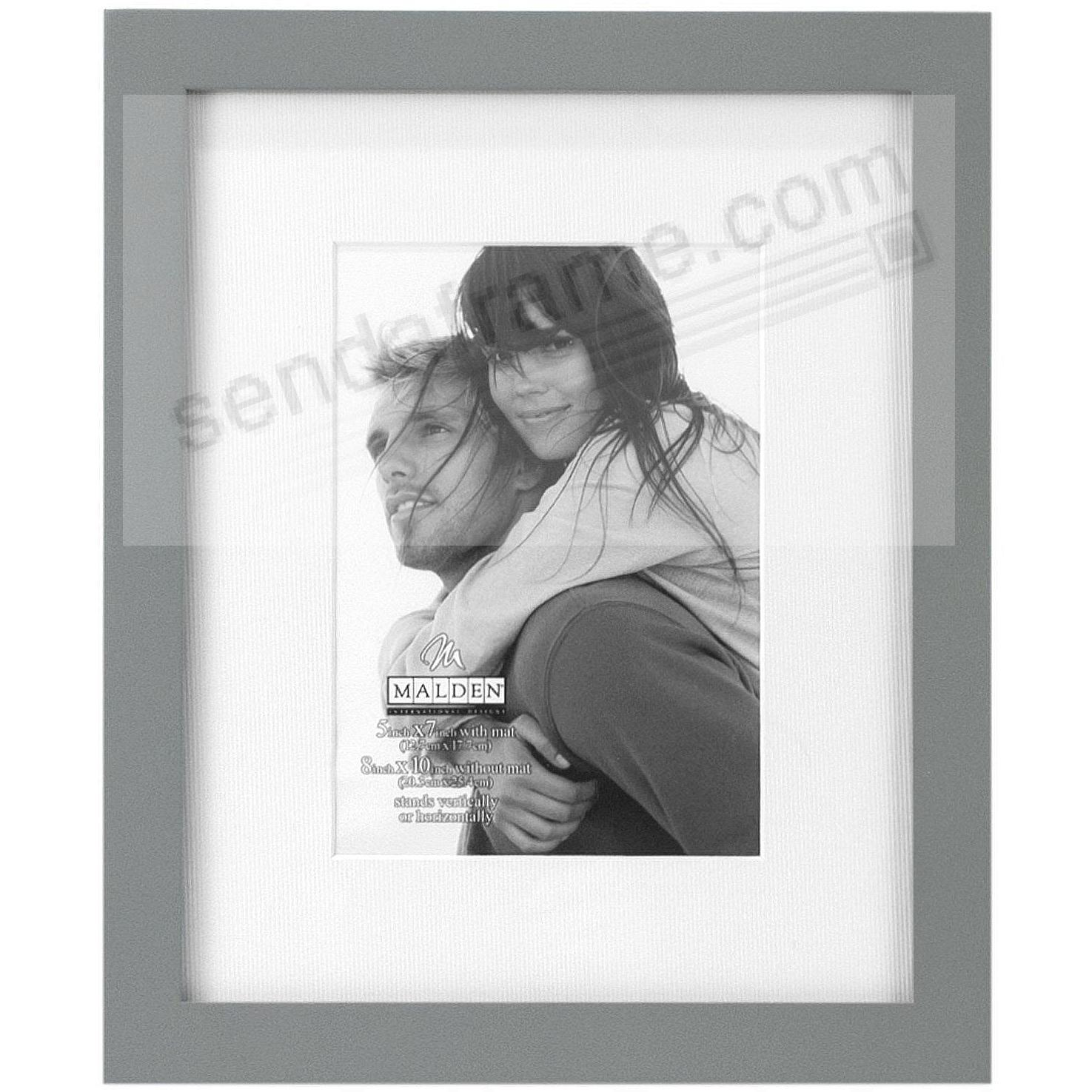 LINEAR WOOD Gray Frame with 8x10/5x7 coordinated mat by Malden®