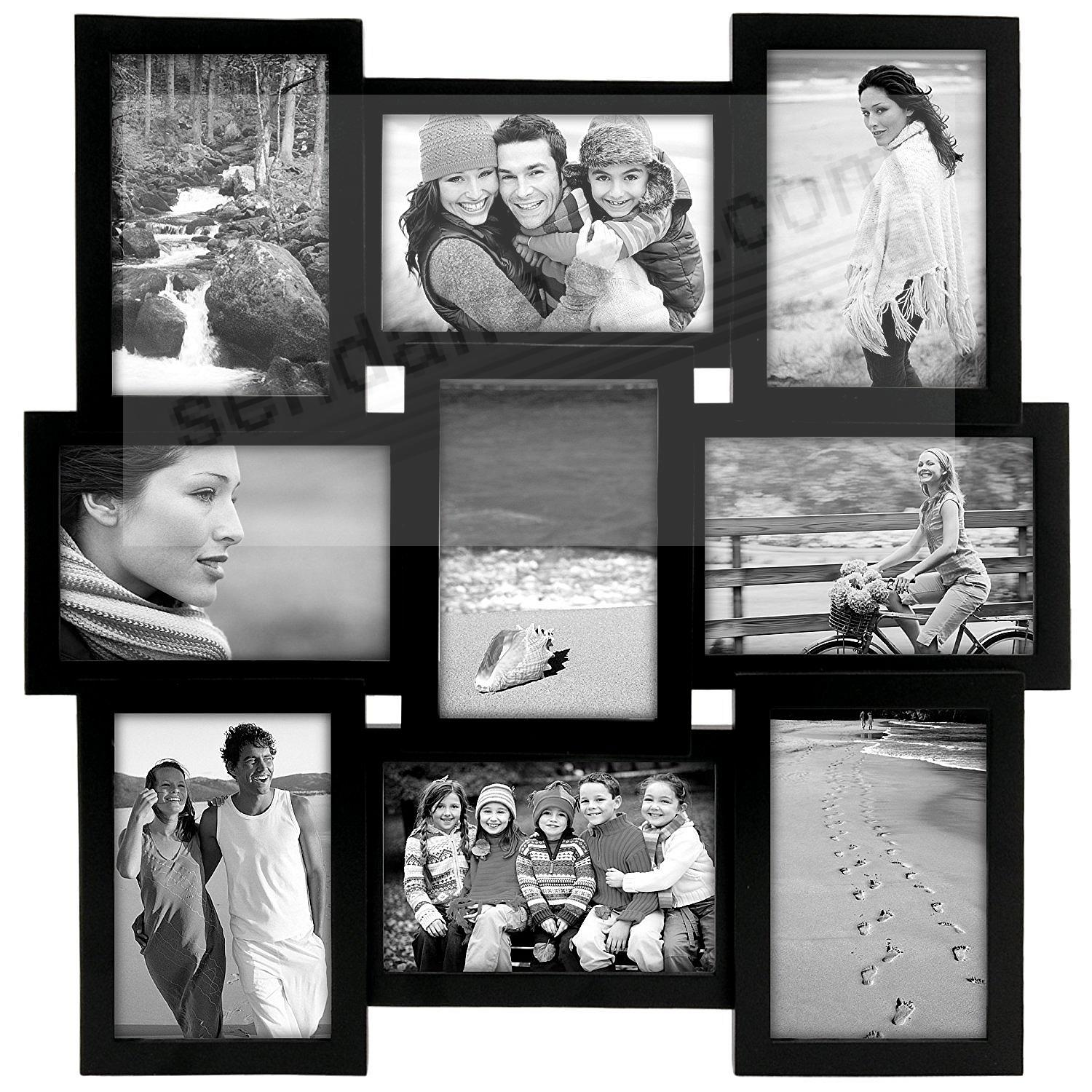 Black PUZZLE collage displays (9) 4x6 photos