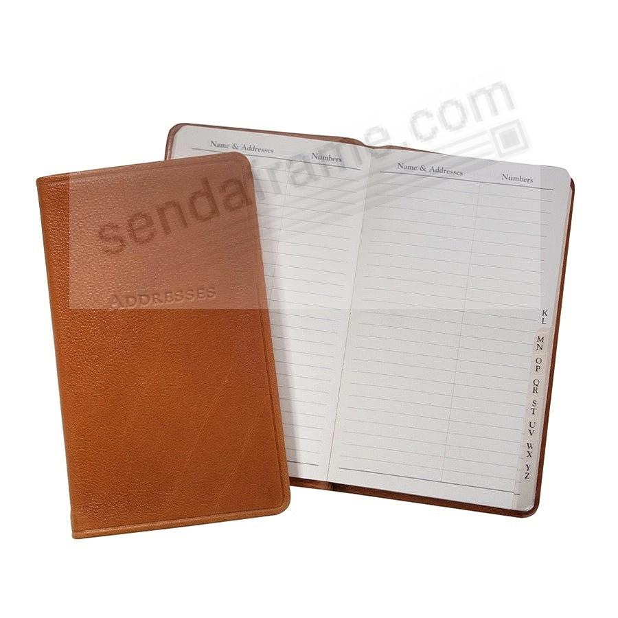 BRITISH-TAN 5-inch Pocket Address Book in Traditional Calfskin Leather by Graphic Image™
