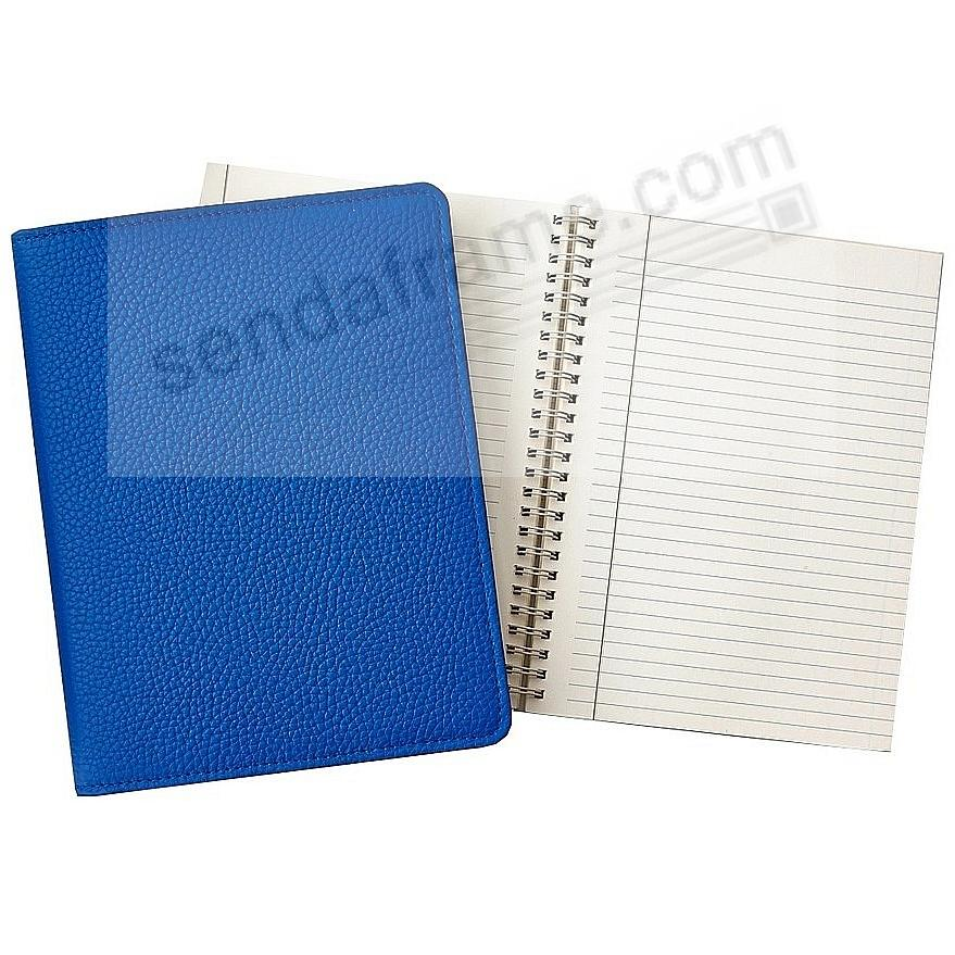 Wire-O-Notebook 9-inch Cobalt-Blue PEBBLE GRAIN Fine Leather by Graphic Image™