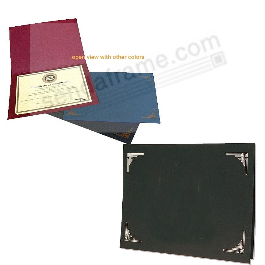 Black Certificate Folders for 8x10 or 8½x11 Inserts (sold in 25s)
