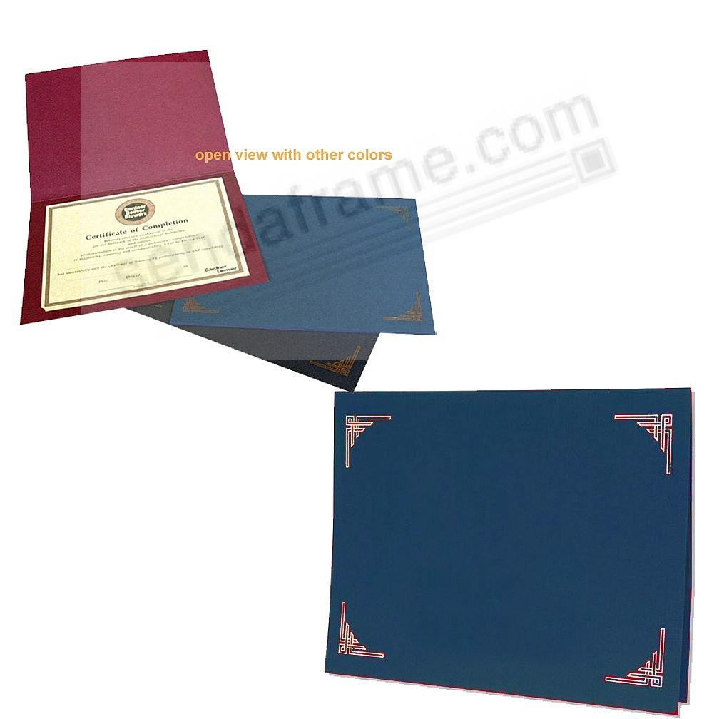 Blue Certificate Folders for 10x8 or 11x8½ Certificates (sold in 25s)