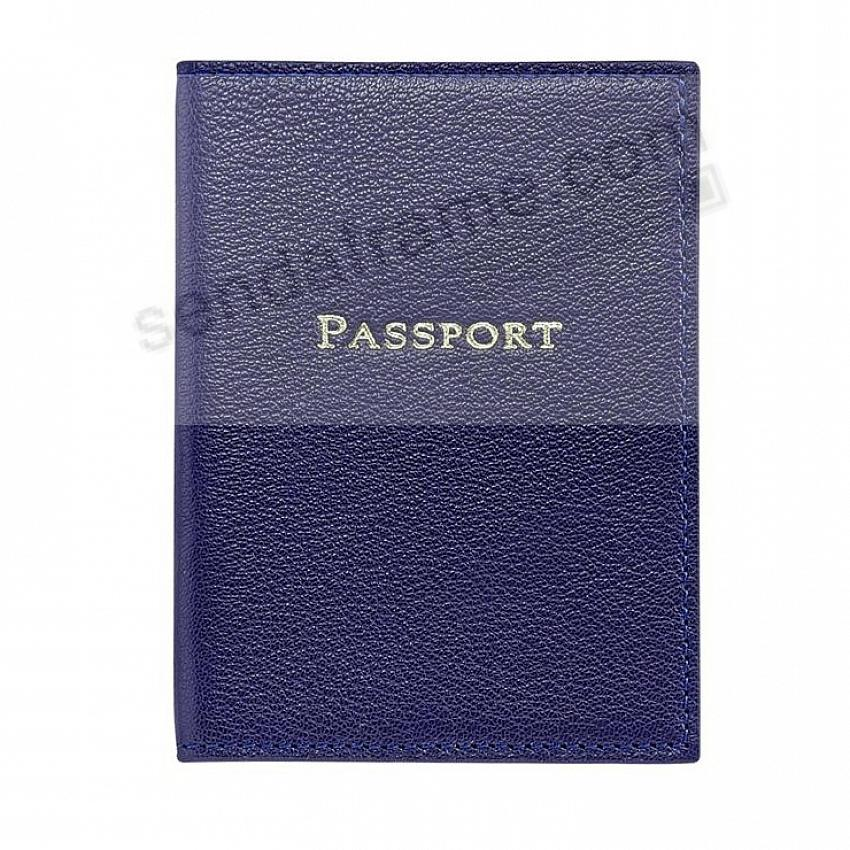 Indigo-Blue PASSPORT/ID HOLDER in Full Grain Leather by Graphic Image®