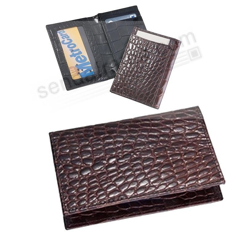 Card Case w/ID Holder in Brown Crocodile-Embossed Leather by Graphic Image®