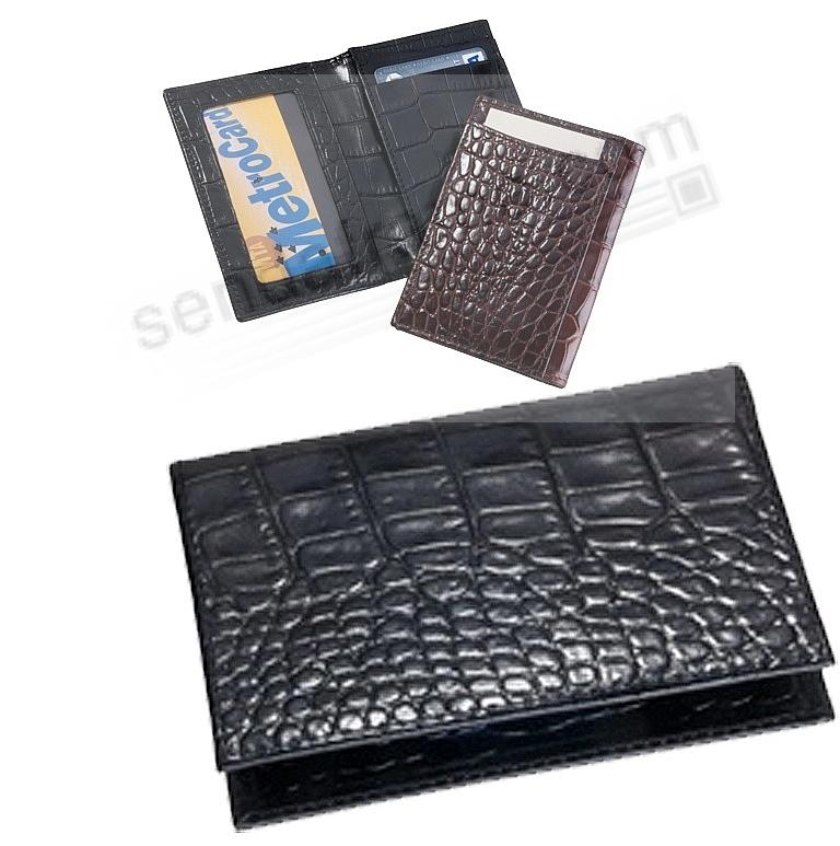 Card Case w/ID Holder in Black Crocodile-Embossed Leather by Graphic Image®