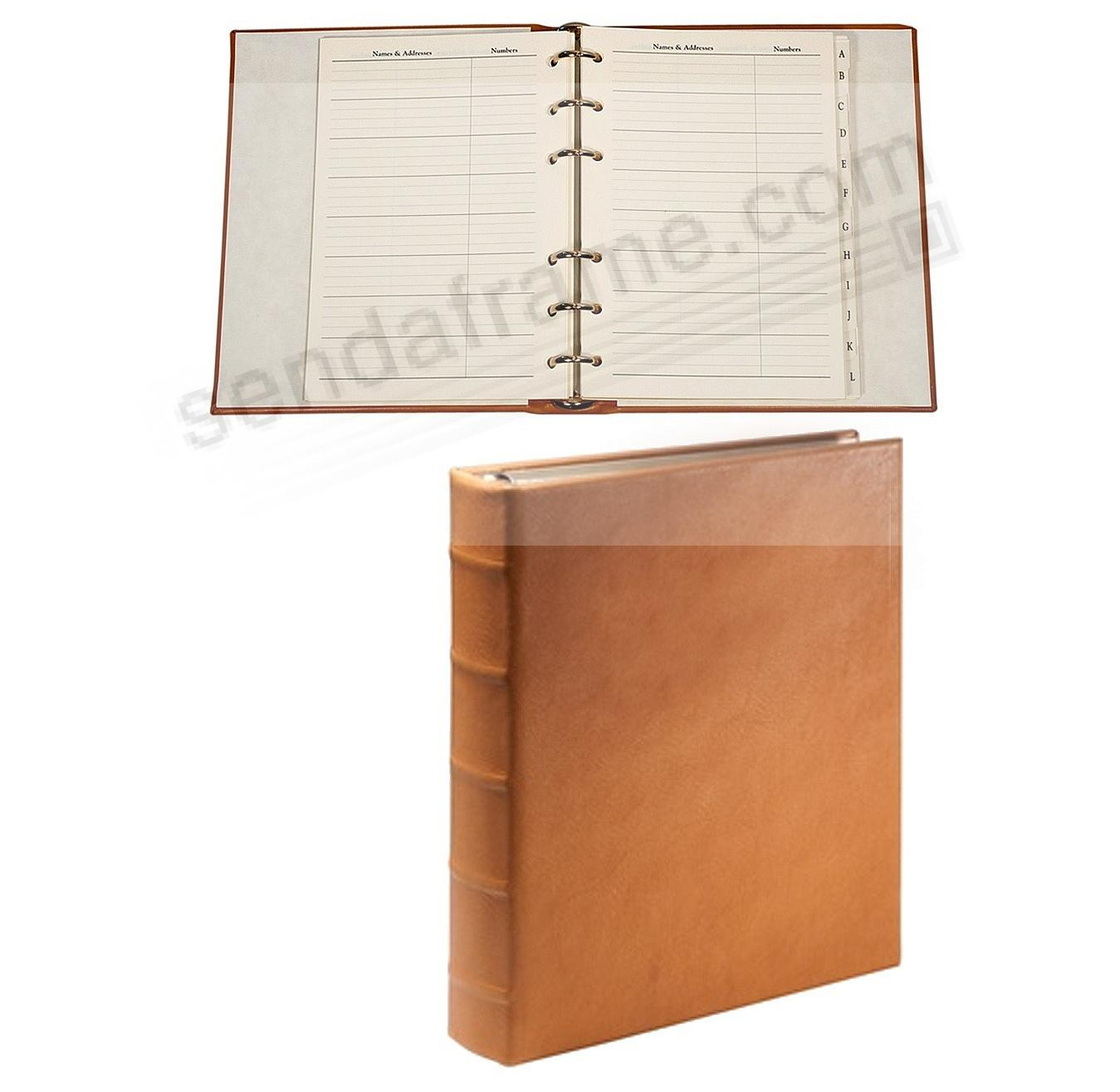 Desk Address Book - Refillable -BRITISH-TAN Calfskin Leather by Graphic Image™
