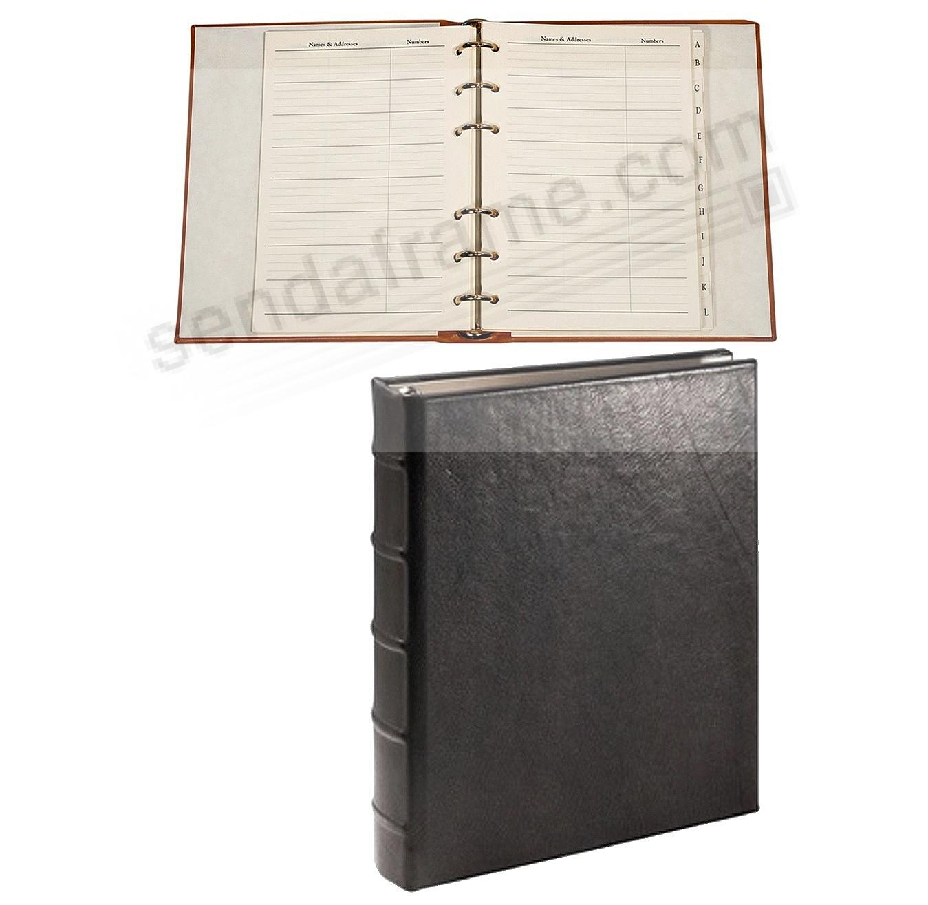 Desk Address Book - Refillable - BLACK Calfskin Leather by Graphic Image™