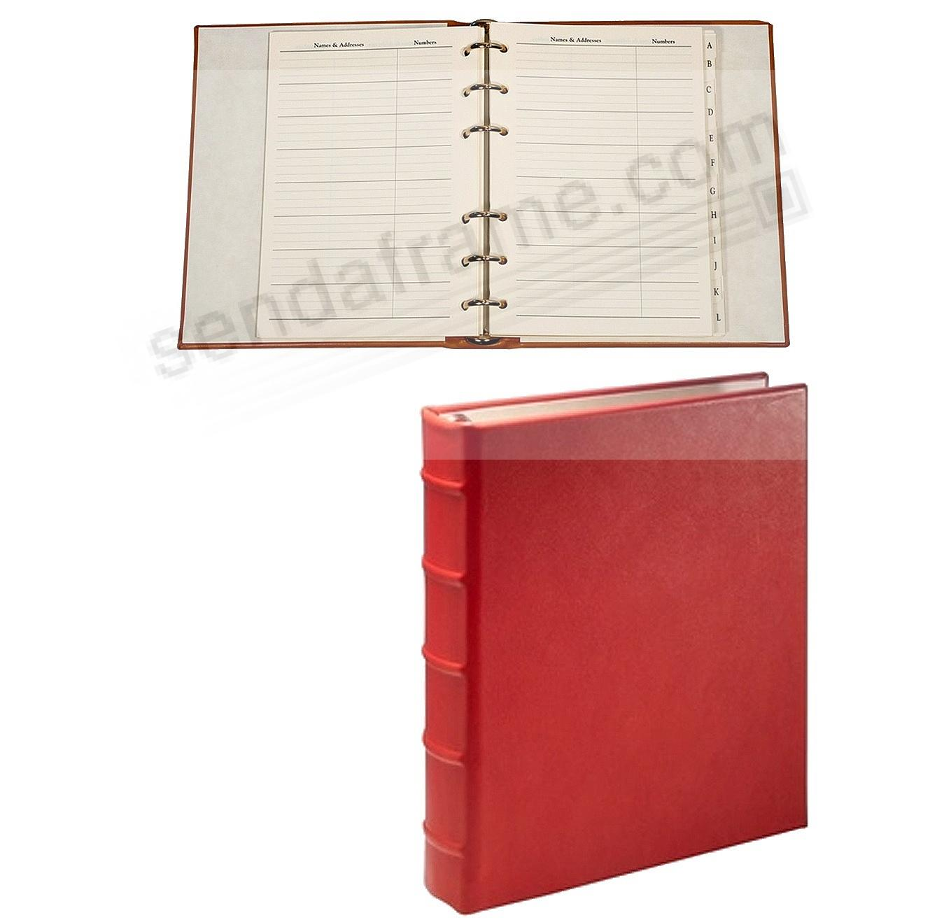 Desk Address Book - Refillable - RED Calfskin Leather by Graphic Image™