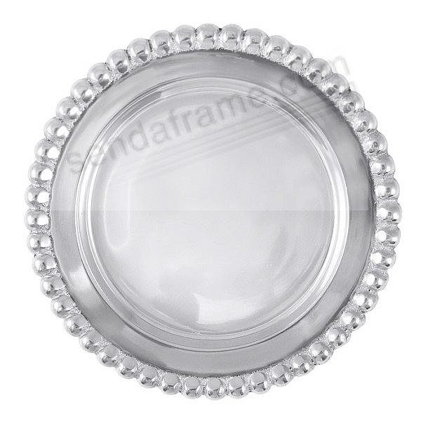 The original BEADED WINE PLATE crafted by Mariposa®