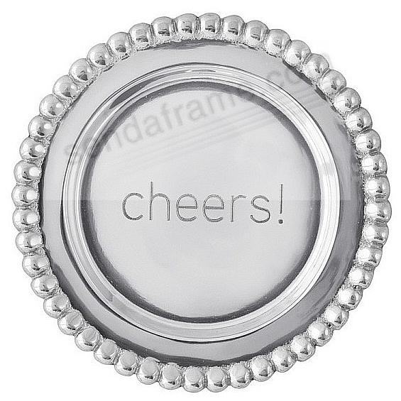 The original CHEERS BEADED WINE PLATE crafted by Mariposa®