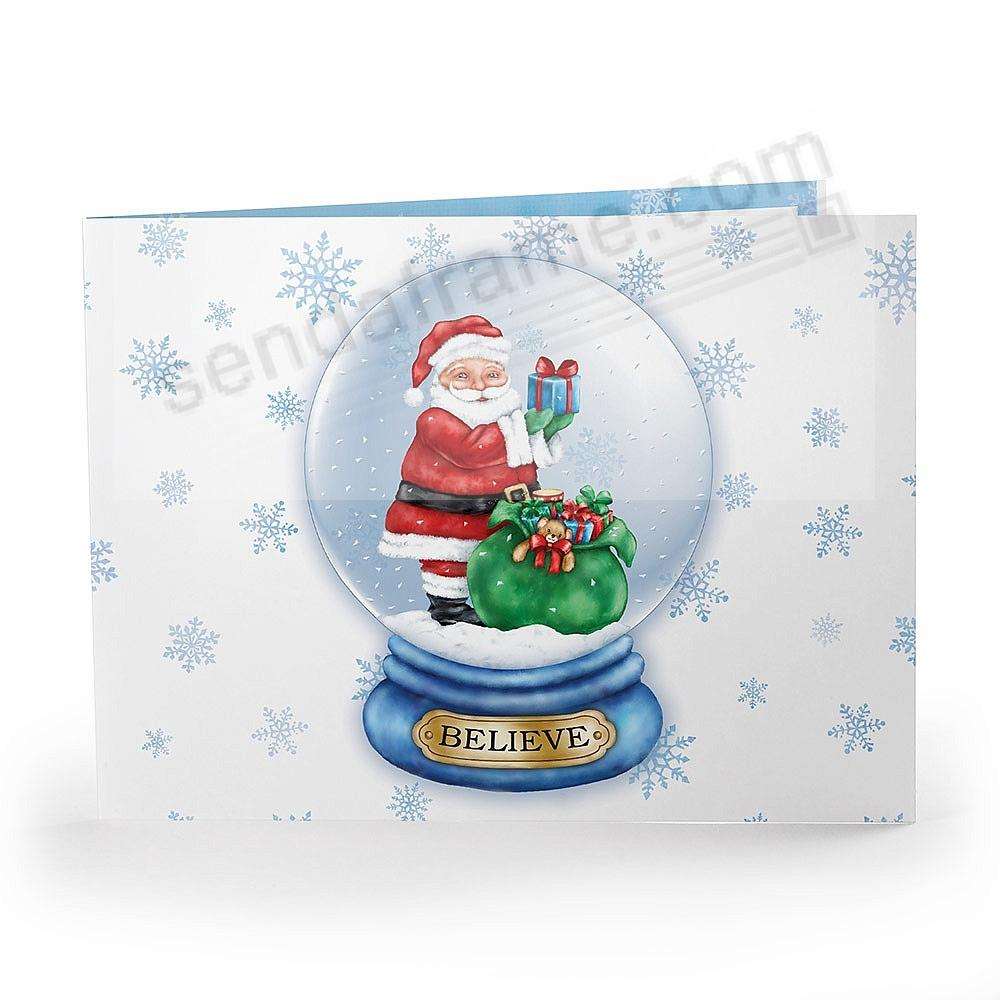 SANTA GLOBE Printed Holiday Event 7x5 Photo Landscape Cardstock Folder