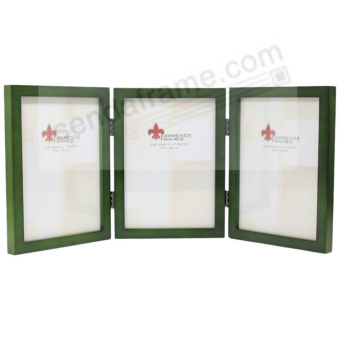 Green hinged triple in 5x7 size by Lawrence®