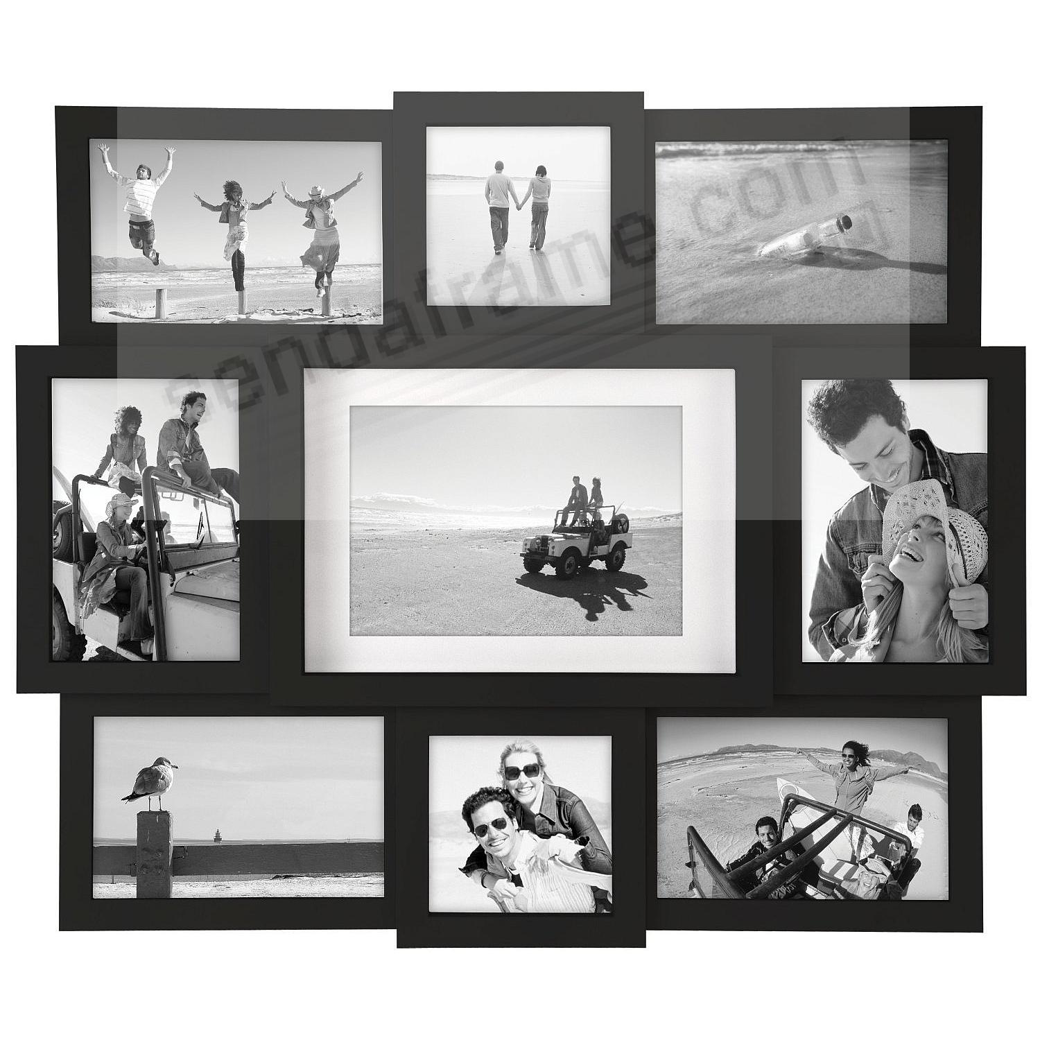 Black 9-opening collage frame for 4x4/4x6/5x7 prints by Malden®