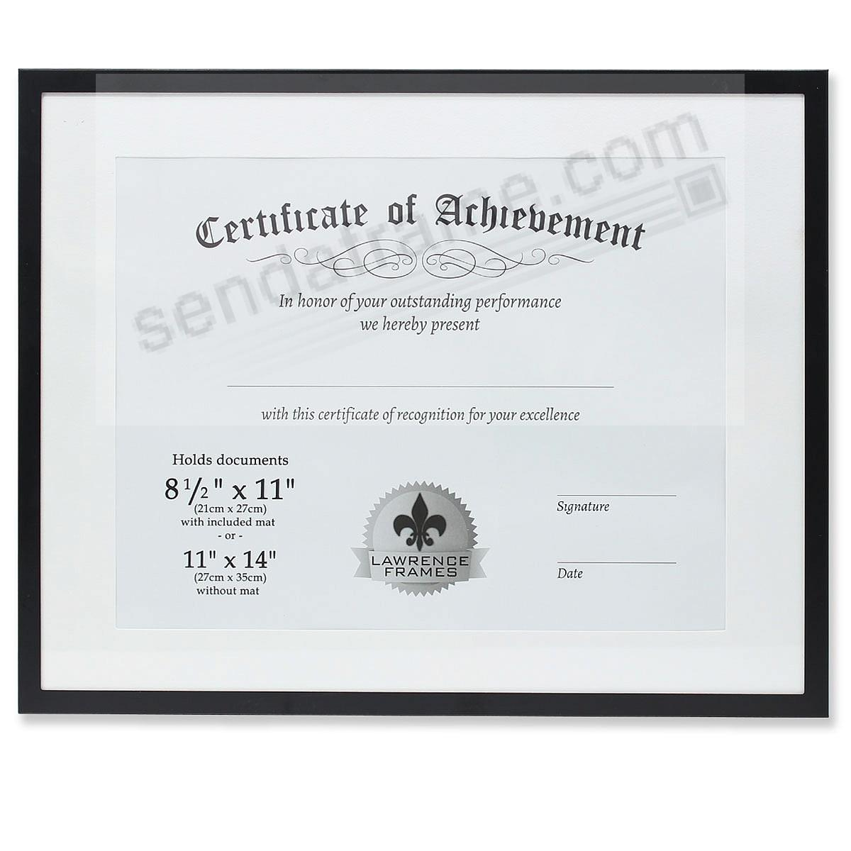 Certificate-size Black Aluminum Dual Use 11x8½/14x11 frame by Lawrence®