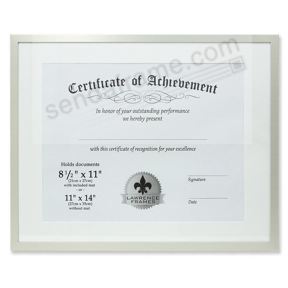 Certificate-size Brushed-Silver Aluminum Dual Use 14x11/11x8½ frame by Lawrence®