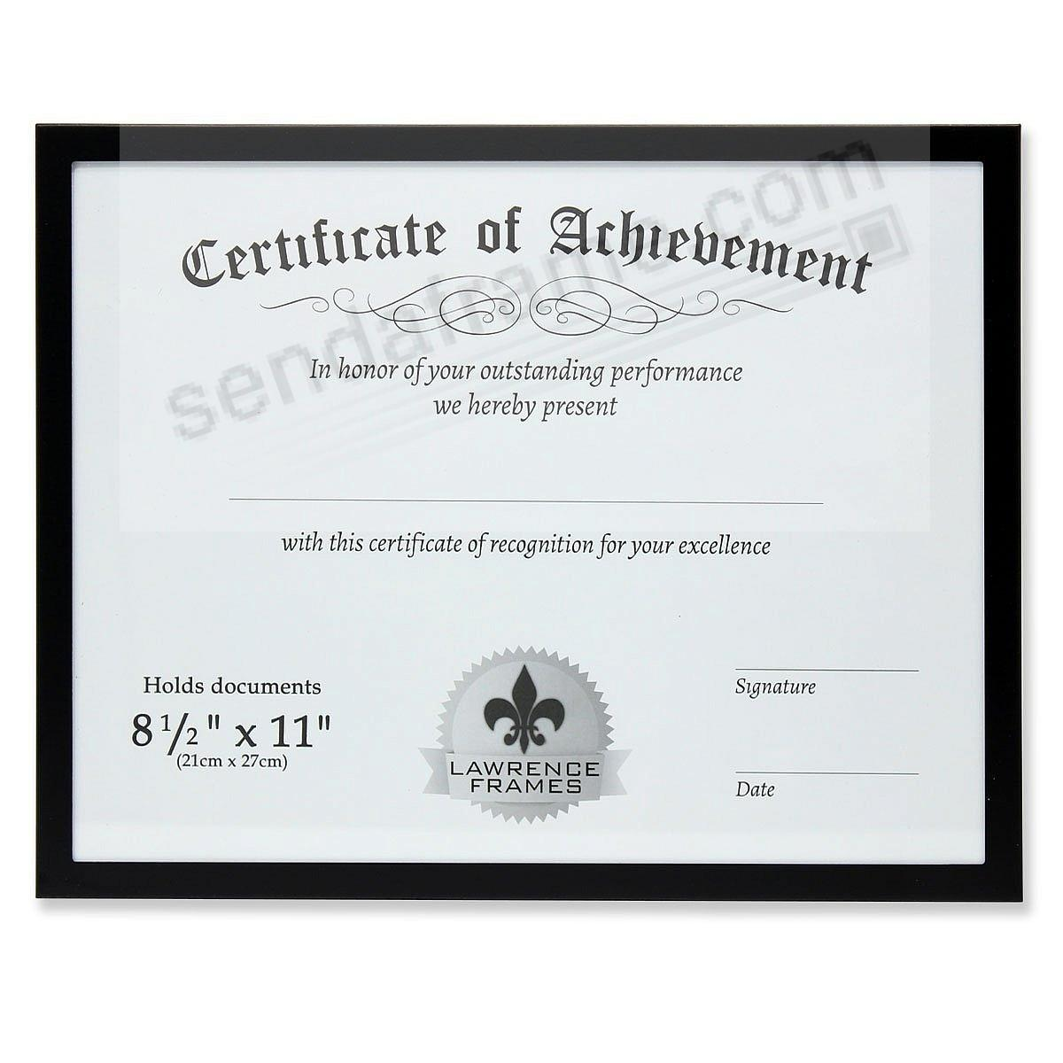 Certificate-size Black Aluminum 11x8½ frame by Lawrence®