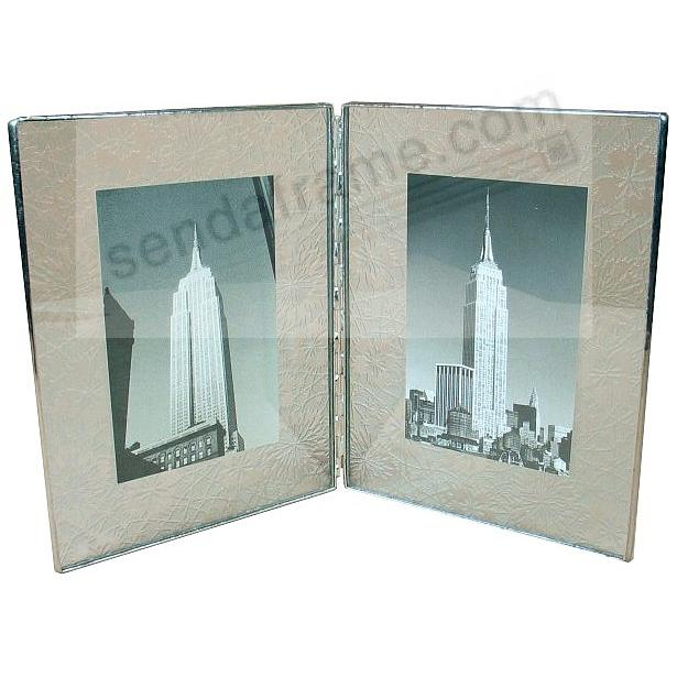 ETCHED Pattern Glass Hinged Double Float frame 7x9/5x7 Silver by Bedford Downing®