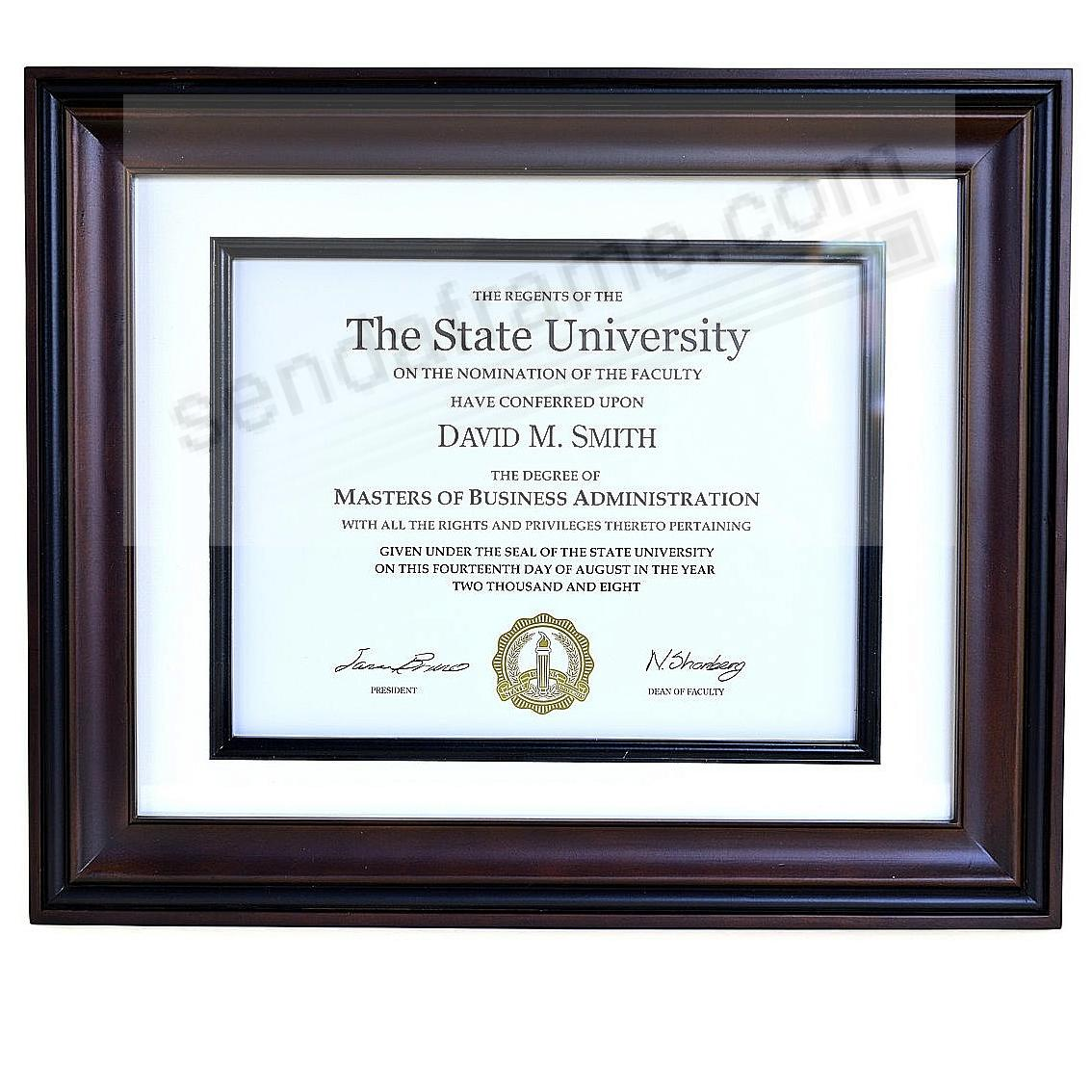 Two-Tone RECOGNITION Wood/matted certificate frame 14x11 / 11x8½ from ARTCARE® by Nielsen®
