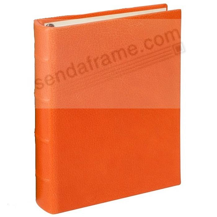 BRIGHTS ORANGE 1-Up Clear Pocket Fine-Leather 3-ring Album<br>by Graphic Image&trade;
